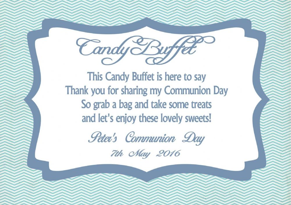 Candy Buffet Table Sign Boy Communion Design 2
